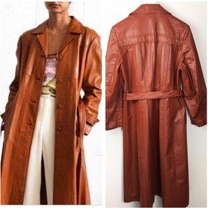 70's Vintage Tuxedo Cognac Leather Trench Coat XL